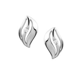 Opengewerkte Golvende Oorknoppen van Witgoud met Diamant