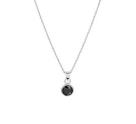 Zilveren Collier met Zwarte Ronde Zirkonia