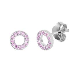 Zilveren Oorknoppen met Opengewerkte Roze Zirkonia Cirkel