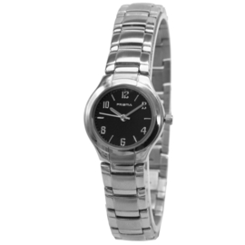 Prisma Slank Zilverkleurige Dames Horloge met Edelstalen Horlogeband