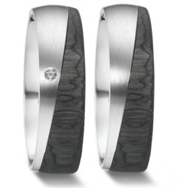 Carbon met Zilveren Trouwringen Set met Diamant