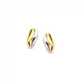 Excellent Jewelry Oorstekers van Geelgoud met Witgoud voor Dames