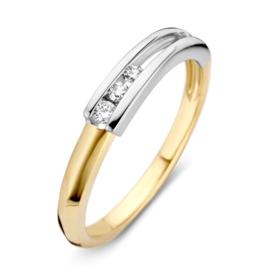 Excellent Jewelry Dames Ring met Witgouden Uiteinde met Diamanten