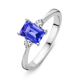 Excellent Jewelry Witgouden Ring met Diamanten en Tanzaniet