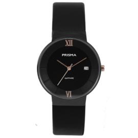 Prisma Zwart Dames Horloge met Roségoudkleurige Wijzers