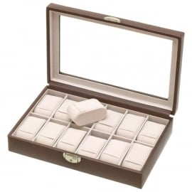 DAVIDTS horlogebox voor 12 horloges / Bruin