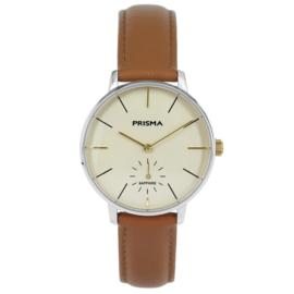 Prisma Zilverkleurig Dames Horloge met Bruin Lederen Horlogeband