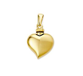Hartvormige Urn Hanger van Geelgoud - Gouden Hangers