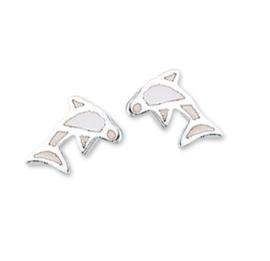 Witte Parelmoer Dolfijn Oorknoppen van Zilver