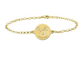 Gouden Armband met Ronde Stier Sterrenbeeld Naamhanger > Names4ever