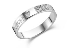 Zilveren Vingerafdruk Ring + Naam van Names4ever