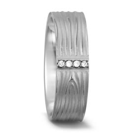 Klassieke Brede Witgouden Dames Trouwring met Vier Diamanten