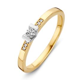 Excellent Jewelry Bicolor Ring met V-vormig Diamant Kopstuk
