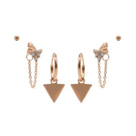 Karma Jewelry – Zesdelige Triple Triangle Earparty Set - Rosé