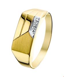Gepolijste Geelgouden Ring met Gediamanteerd Vlak en Diamanten