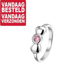 Ring voor Kinderen met Bolle Strik en Roze Zirkonia / Maat 13