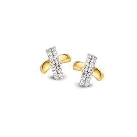 Excellent Jewelry Geelgouden Oorstekers met Dubbele Zirkonia Rij