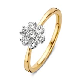 Excellent Jewelry Slanke Bicolor Ring met Briljant Bloem