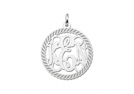 Names4ever Medium Monogram met Initiaal Hanger van Zilver ZMH011