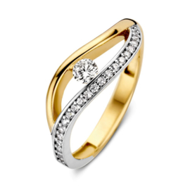 Excellent Jewelry Abstracte Bicolor Ring met Zirkonia's