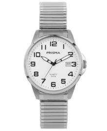 Edelstalen Heren Horloge met Rekband en Witte Wijzerplaat