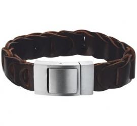 Slanke Gevlochten Armband van Donkerbruin Leer - Graveer sieraad