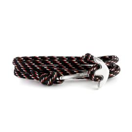 Hooked Zwart Rood Witte Koord Armband
