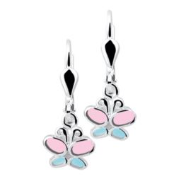 Zilveren Vlinder Oorhangers met Roze en Blauwe Emaille