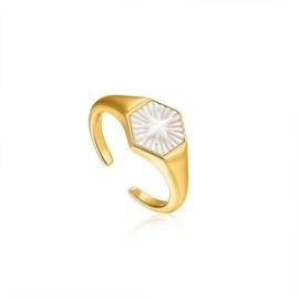 Ania Haie Wild Soul Goudkleurige Ring met Decoratief Parelmoer