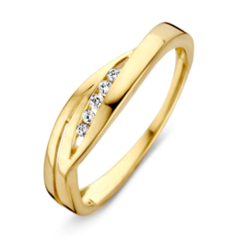 Excellent Jewelry Geelgouden Ring met Zirkonia's voor Dames