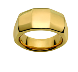 Gehoekte Goudkleurige Ring van Edelstaal van M&M