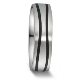 Stijlvolle Zilveren Heren Trouwring met Carbon Stroken