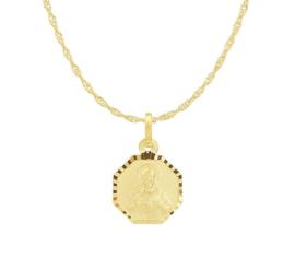 Goudkleurig Collier van Zilver met Achthoekige Scapulier Hanger