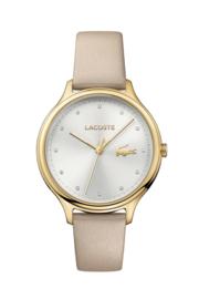 Lacoste Constance Dames Horloge met Beige Lederen Horlogeband