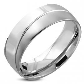 Graveer Ring met Diagonale Lijn
