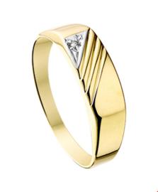 Slanke Gepolijste Zegelring met Diagonale Lijnen en Diamant