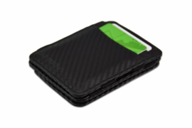 Luxe Carbon Zwarte Magic Wallet RFID Portemonnee van Hunterson