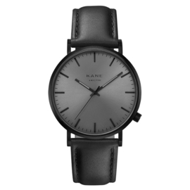 Zwart KANE Horloge met Zwarte Lederen Horlogeband