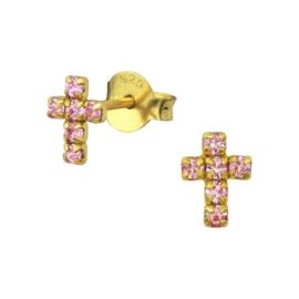Goudkleurige Kruis Oorknoppen van Zilver met Roze Zirkonia's