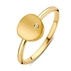 Excellent Jewelry Geelgouden Ring met Mat Plaatje met Zirkonia
