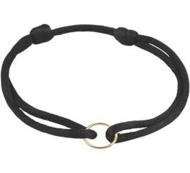 Zwarte Armband van Satijn met Gouden Cirkel