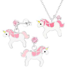 Zilveren Unicorn Oorbellen en Ketting Set voor Kids