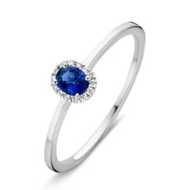 Excellent Jewelry Witgouden Slanke Ring met Saffier en Briljanten