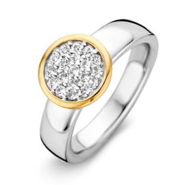 Excellent Jewelry Witgouden Brede Ring met Geelgouden Zirkonia Rondje