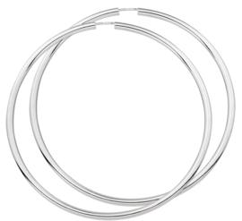 Zilveren creolen met een ronde buis en een dop-sluiting
