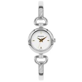 Prisma Zilverkleurig Abstract Dames Horloge met Goudkleurige Wijzers