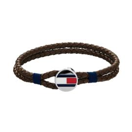 Bruine Gevlochten Heren Armband van Leder van Tommy Hilfiger