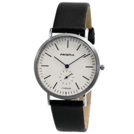 Design Titanium Prisma Heren Horloge met Zwarte Lederen Horlogeband