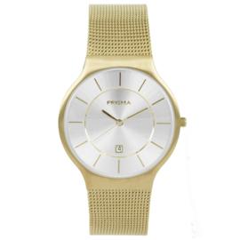 Goudkleurig Heren Horloge met Milanese Horlogeband en Zilverkleurige Wijzerplaat