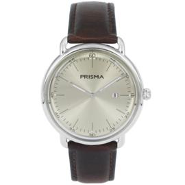 Zilverkleurig Edelstalen Heren Horloge met Beige Wijzerplaat en Lederen Horlogeband